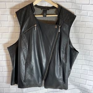 Lane Bryant Vegan Leather Moto Vest Sz 28